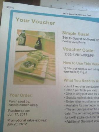 Voucher from Simple Sushi that they would not honor on the last day it was valid.