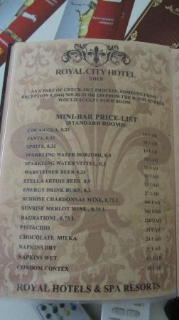 Royal City Hotel : one page of menu. look on vitel water, but anyway we found there evian one...