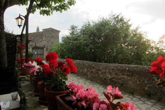 La Capitelle Hotel : Vue de la terrasse où se prennent les repas par beau temps