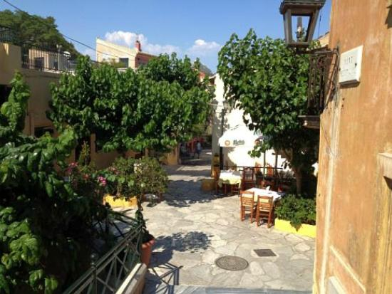 Taverna O Thespis: Looking down the street to O Thespis
