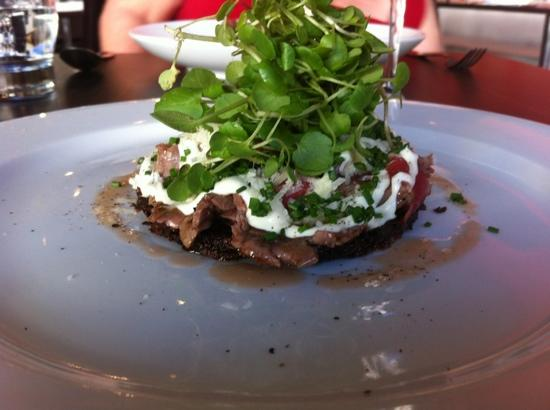 RockSalt Modern Dining: beef carpaccio , rosti potato, truffled horseradish, Parmesan,red wine dressing
