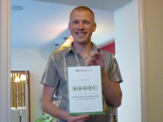 CCCP Restaurant: Our host with his TA Certificate of Excellence