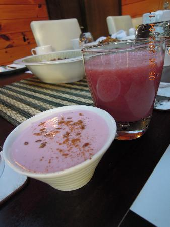 Mokoia Downs Estate B&B: Yogurt and fruit juices
