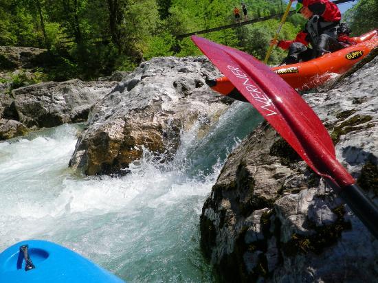 Soca Rider: whitewater kayak trip with inflatable kayak on Soca river