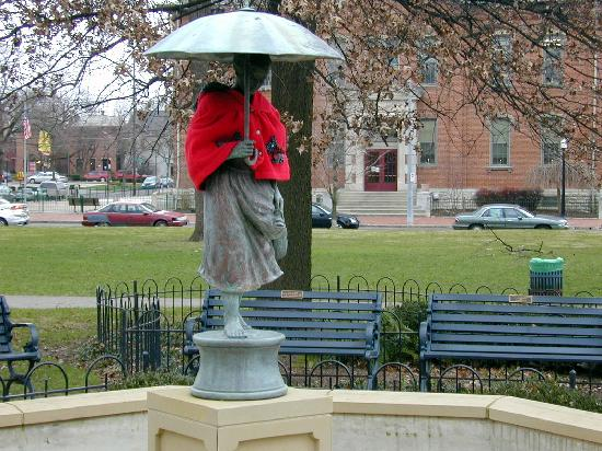 German Village: Umbrella Girl statue--another must see attraction in Schiller Park