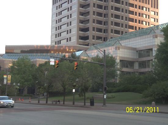 Drury Inn & Suites Columbus Convention Center: The Columbus Convention Center w/Hyatt Regency in background