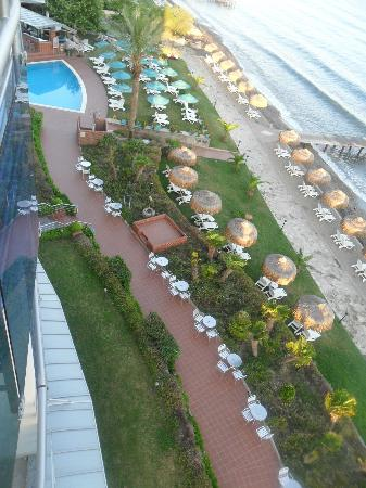 Faustina Hotel: Looking down on pool & beach from our balcony