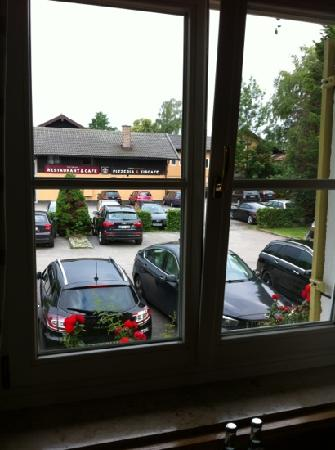Hotel Schlossblick Chiemsee: window opens to carpark. yuck