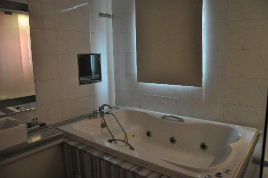 Hotel 648: hot tub with mini tv