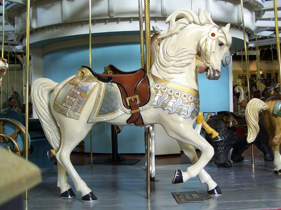 Silver, the lead horse on the Eldridge Park Merry-Go-Round.