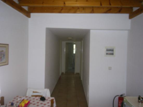 Villa Mary Apartments: View from the kitchen/dining area; Bedrooms to the right, bathroom at end of the corridor