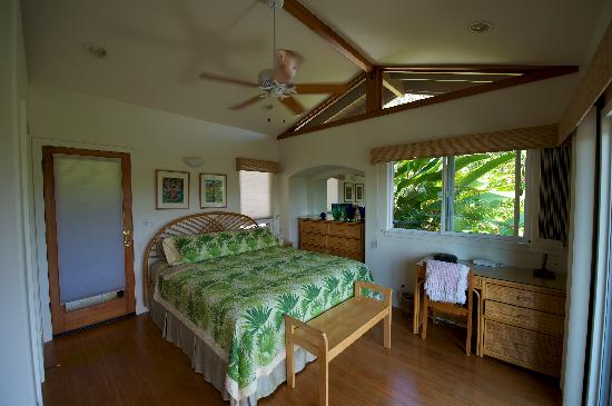 Maui Tradewinds: Guest bedroom. Door on the left leads to outdoor shower