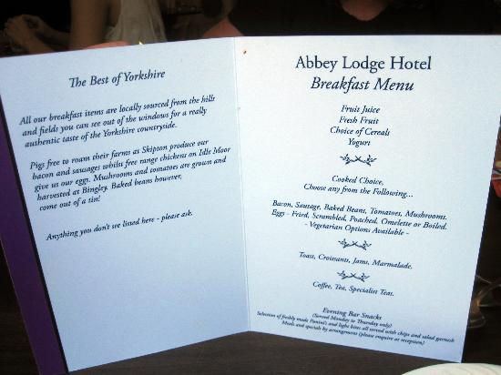 Abbey Lodge Hotel: Food to start your day