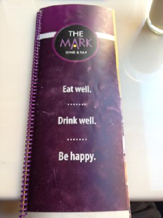 The Mark Dine & Tap: Front of menu