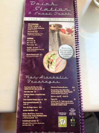 The Mark Dine & Tap : Desert menu.