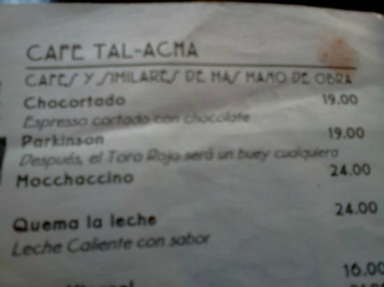Cafe Tal: la carta