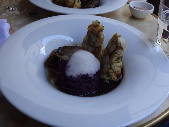 Apostila : Smoked duck, red cabbage and Czech dumplings.