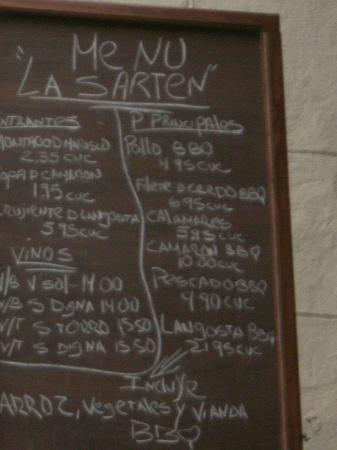 La Sarten: The Menu  May/2012