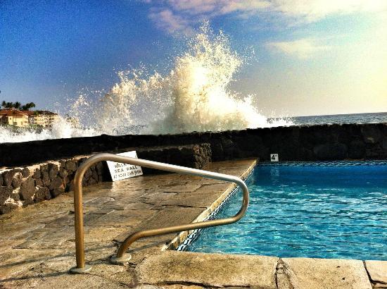 Kona Tiki Hotel : Ocean crashing into the pool