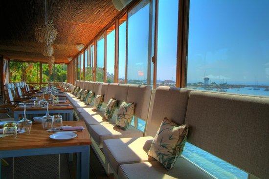 Mood Beach: Mood Crystal Deck restaurant hanging over the sea.