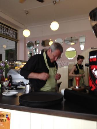 Fredericks Tea Room: frank hard at work