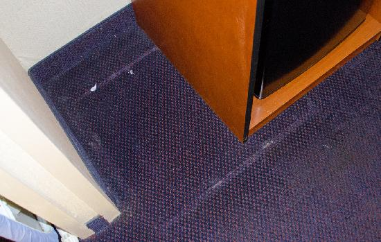 Days Inn Altus: Gross OLD carpet in my room; also note peeling wallpaper in corner