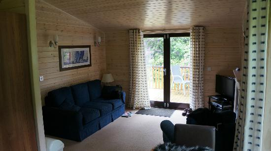 Darwin Forest Country Park: Lodge living area.