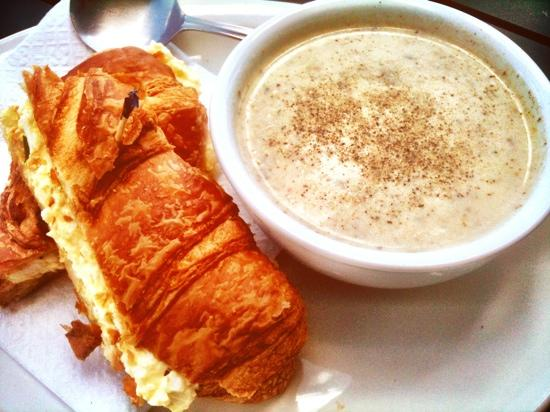 Harbourview Marina & Cafe: Egg salad croissant sandwich & seafood chowder