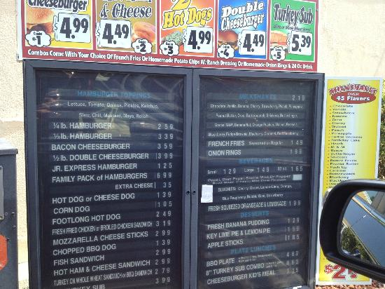 Dixie Express: Menu Board