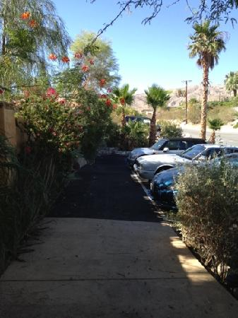 Hacienda Hot Springs Inn: parking area outside walls