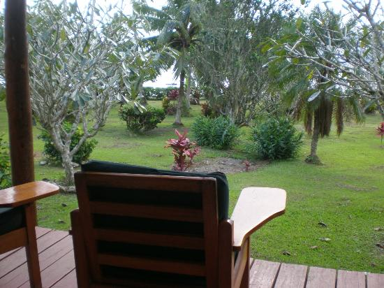 Daku Resort: view from my private covered porch over looking grounds to savusavu bay