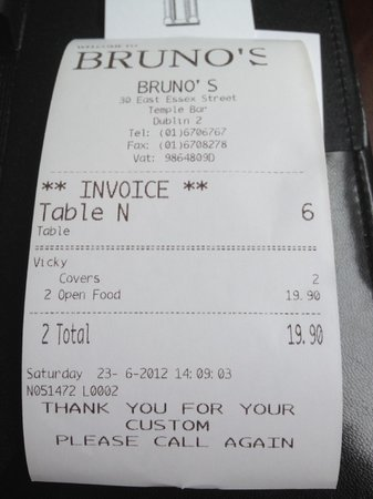 Bruno's: Our bill