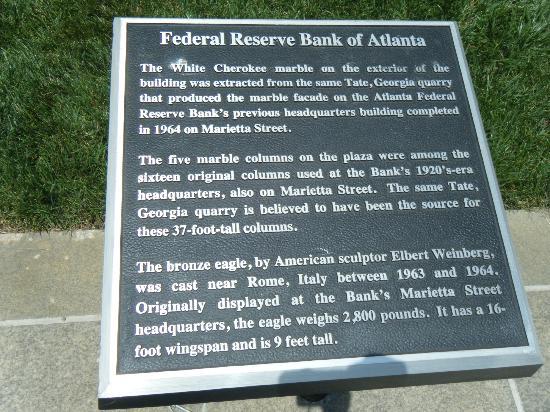 Federal Reserve Bank of Atlanta: Plaque