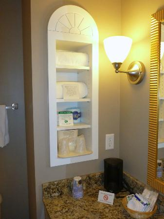 Holiday Inn Express Hotel & Suites Palatka Northwest: Nice shelving in the bathroom. Photo taken with a tiny camera, so quality is not so great.