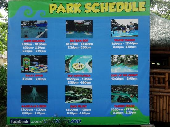 Binan City, Philippines: Ride / slide Schedule