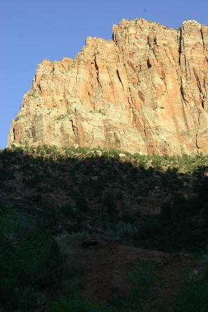 Zion Canyon Campground: View of Watchman from our campsite
