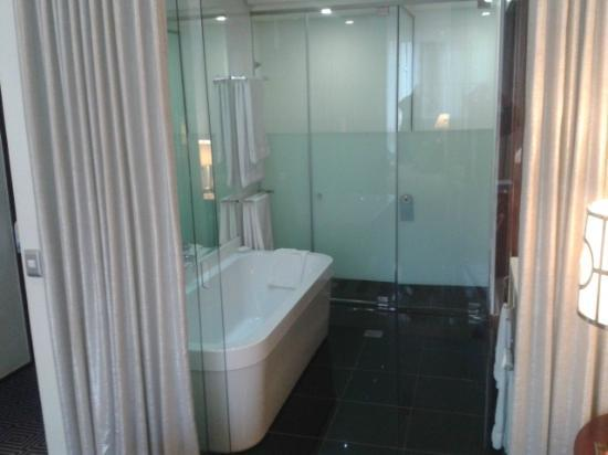DaVinci Hotel and Suites: Bathroom separated from room by sliding glass doors and curtains