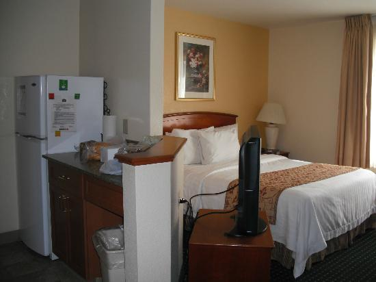TownePlace Suites Denver Downtown : Edge of kitchen, TV and bed - sitting area is opposite the bed