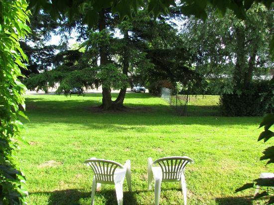 Le Relais Fleuri : vue depuis la chambre ici pas de haie mais un arbre et le parking derrière