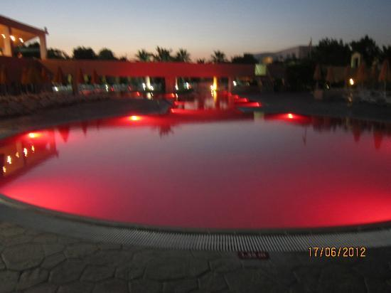 Holiday Village Kos by Atlantica: Pool changes colours throughout the evening