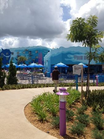 """Disney's Art of Animation Resort: pool and you can see """"The Drop Off"""" pool bar"""