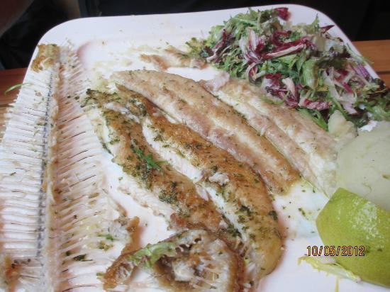 Jaloa Brasserie Jardin: Fish Muniere- after I took out the bones