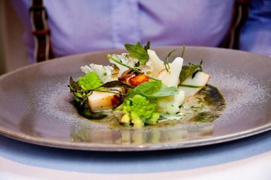 The Ledbury: Ceviche of Hand Dived Scallops with Kabu Turnips, Seaweed, Herb Oil and Frozen English Wasabi
