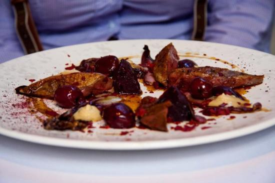 The Ledbury: Roasted Breast and Confit Leg of Pigeon with Red Leaves and Vegetables, Foie Gras and Cherry Blo