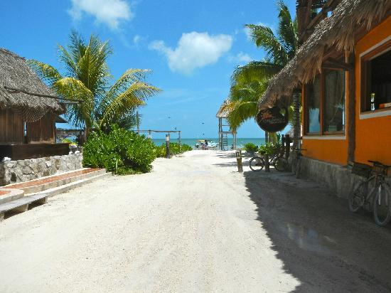 Casa Maya Holbox: The view from the hotel entrance & the adjacent hotel/bar