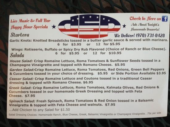 Rosie's Pizzeria: DSP pizza menu