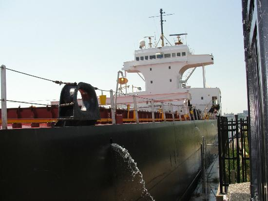 The Welland Canal: Vessel approaching lock