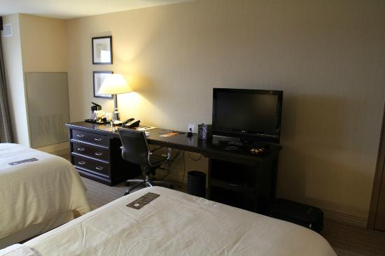 "Sheraton Louisville Riverside Hotel: The large desk with a 32"" LCD TV"