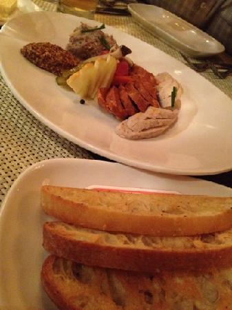 Alexander Inn: sausages, spicy pickles and mustard- all made in house.