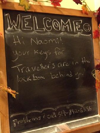 University Bed & Breakfast Apartments : chalkboard message to welcome us since we checked in late